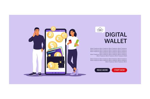 디지털 지갑 개념입니다. 방문 페이지. 젊은 사람들은 모바일 결제를 사용하여 카드를 지불합니다. 벡터 일러스트 레이 션. 평평한.