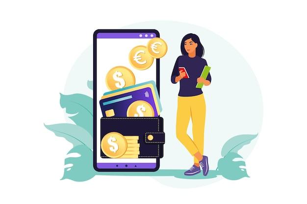 디지털 지갑 개념. 젊은 부유 한 여자는 모바일 결제를 사용하여 카드를 지불합니다. 삽화. 플랫.