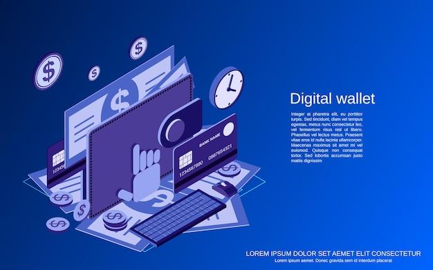 디지털 지갑 평면 3d 아이소메트릭 벡터 개념 그림