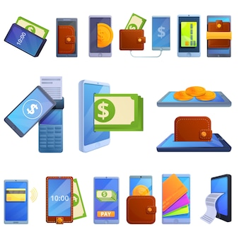 Digital wallet icons set, cartoon style