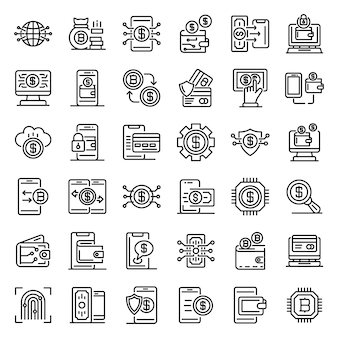 Digital wallet icons set, outline style