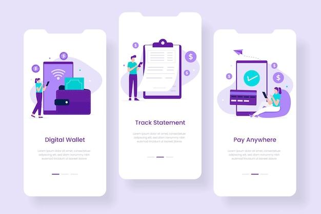 Концепция мобильного приложения цифрового кошелька. иллюстрации для сайтов, лендингов, мобильных приложений, постеров и баннеров