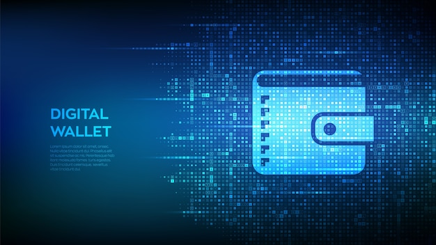 Digital wallet. wallet icon made with currency symbols. background with currency signs.