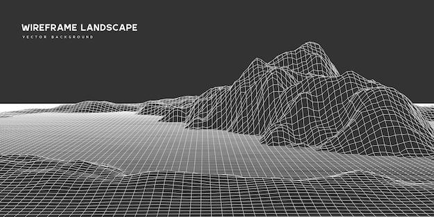 デジタルウェアフレーム風景の背景。 3d未来技術