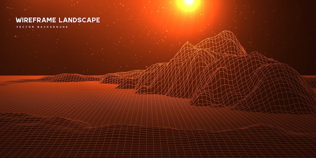 Digital wareframe landscape background with stars and sun on horizon.