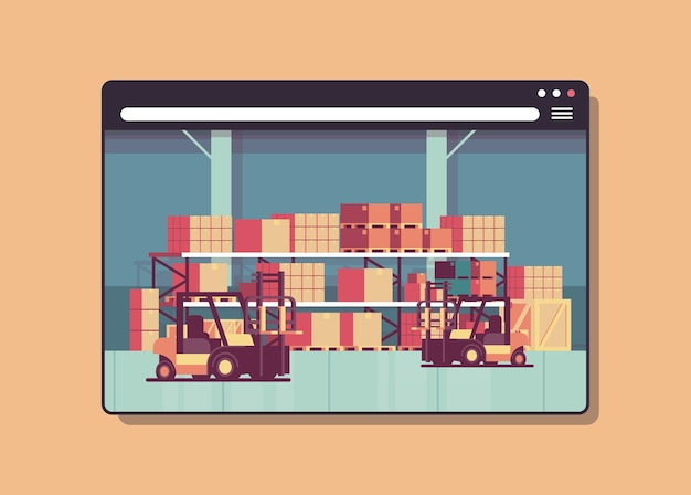 Digital warehouse with forklifts in web browser window modern storehouse interior horizontal