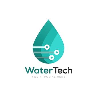 Digital water tech logo design template element