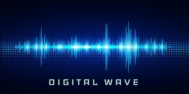 Digital wave, sound waves oscillating glow light, abstract technology background .