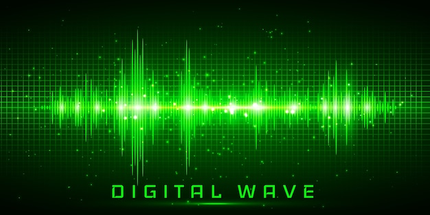Digital wave, sound waves oscillating glow light, abstract technology background