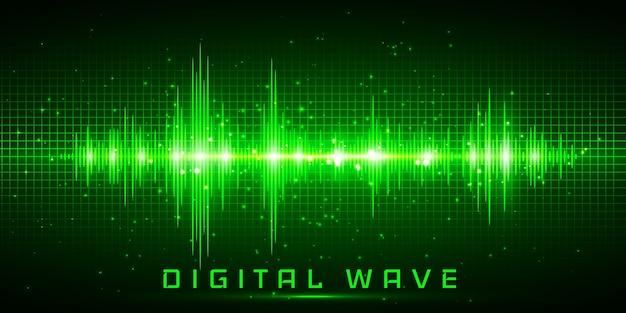 Цифровая волна, звуковые волны, колеблющиеся свечение света, абстрактный фон технологии