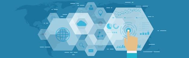 デジタルウェブ分析。デジタル空間におけるビジネステクノロジー、seo最適化、マーケティングコンセプト。 Premiumベクター