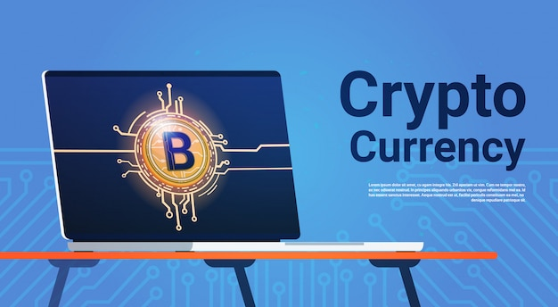 Биткойн на мониторе портативного компьютера концепция криптовалюты digital web money