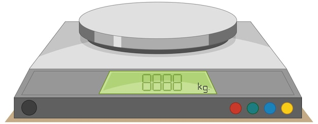 Digital weighing scale on a white background