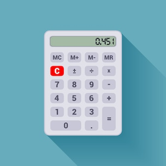 Digital white calculator on the blue background