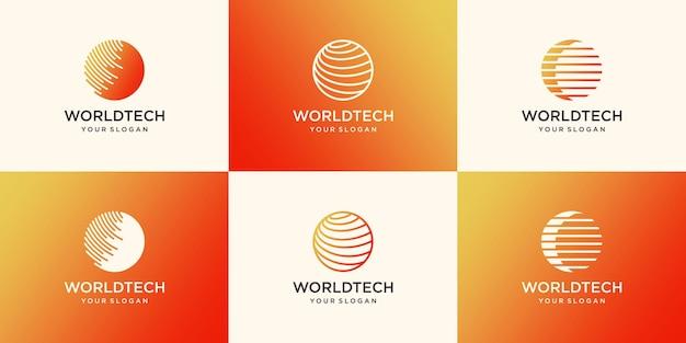 Digital world logo design template
