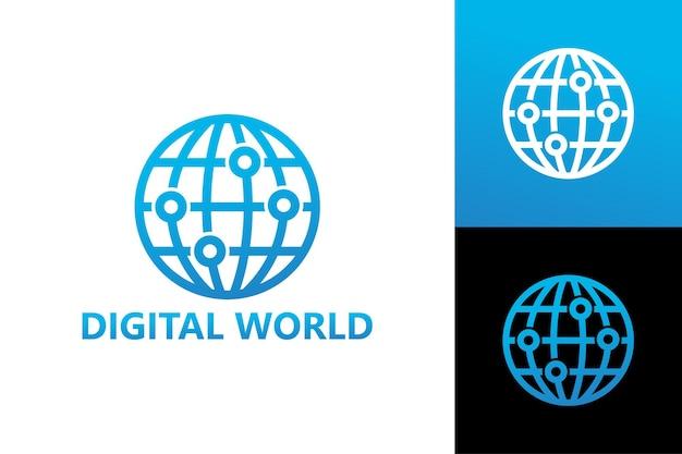 Digital world logo template premium vector