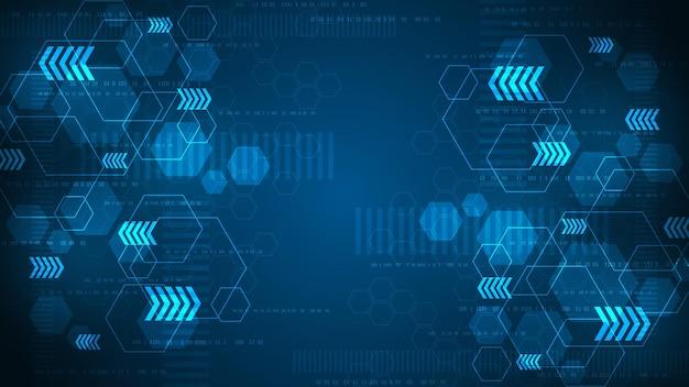 진한 파란색 배경에 육각형을 주요 요소로 사용하여 디지털 방식으로 계산하는 대용량 데이터입니다.