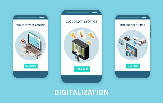 Digitization app screens set with online public services and cloud data storage