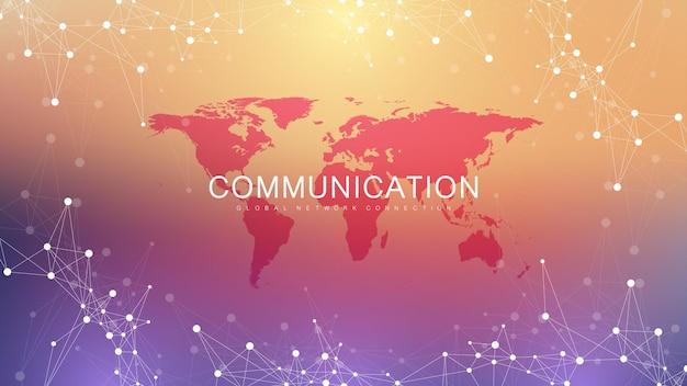 연결된 선과 점이 있는 숫자 추상적인 배경. 디지털 신경망. 프레젠테이션을 위한 네트워크 및 연결 배경. 그래픽 다각형 배경입니다. 벡터 일러스트 레이 션.