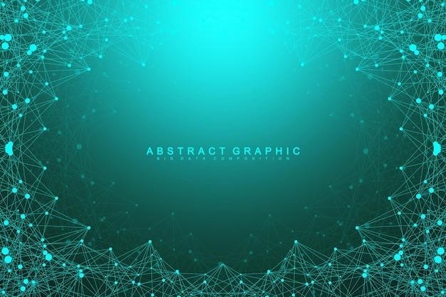 연결된 선과 점, 물결 흐름이 있는 추상적인 배경. 디지털 신경망. 프레젠테이션을 위한 네트워크 및 연결 배경. 그래픽 다각형 배경입니다. 벡터 일러스트 레이 션