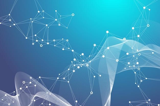 연결된 선과 점, 물결 흐름이 있는 추상적인 배경. 디지털 신경망. 프레젠테이션을 위한 네트워크 및 연결 배경. 그래픽 다각형 배경입니다. 벡터 일러스트 레이 션.