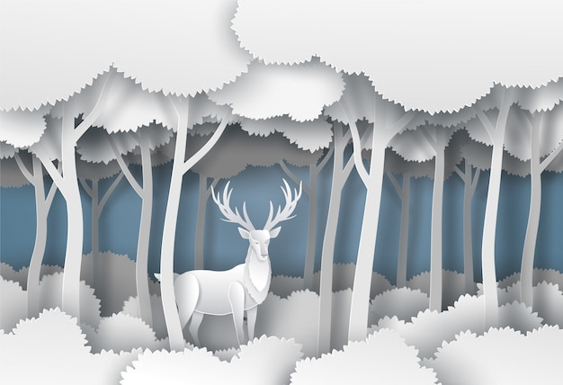 Dignified horn deer in the jungle forest in winter season. vector illustration art in paper cut style.