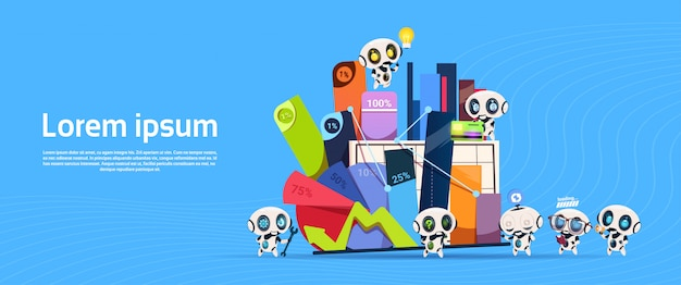 コピーボックスとオフィスのものdigramsとチャートパーセントバナーとロボットのグループ