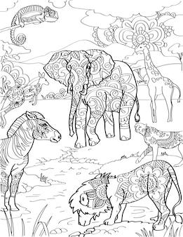 Diiferent animals beside lake lion zebra kangaroo giraffe elephant colorless line drawing