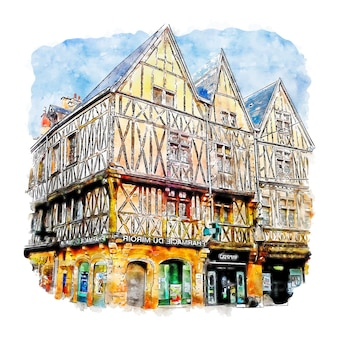 Dijon france watercolor sketch hand drawn illustration