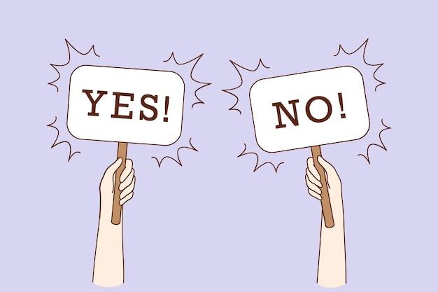 Дилемма, спор, концепция колебания выбора. человеческие руки держат знамена да нет