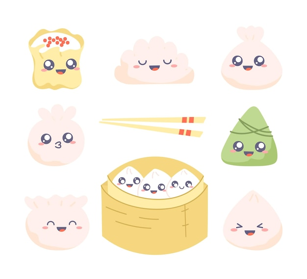 Dim sum clipart set. collection of kawaii drawings with cute dumplings.