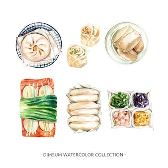 Collezione di dim sum design con illustrazione ad acquerello per uso decorativo.