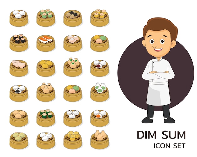 Dim sum concept background. flat icons.