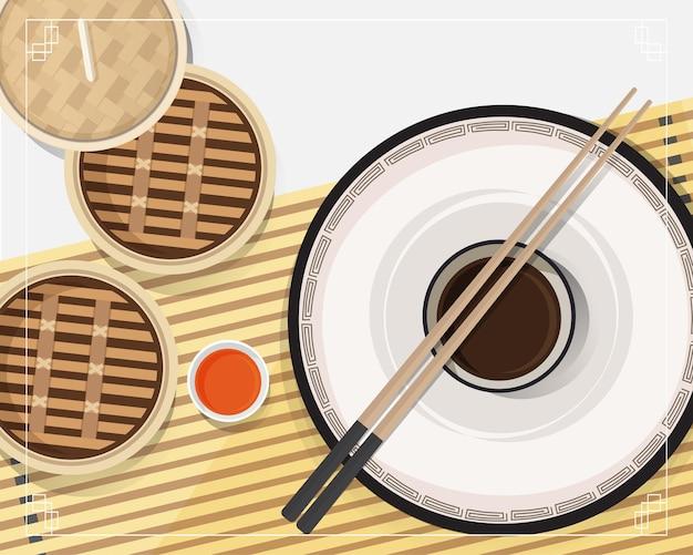 中華料理、アジア料理の点心イラストベクトル蒸し器の点心