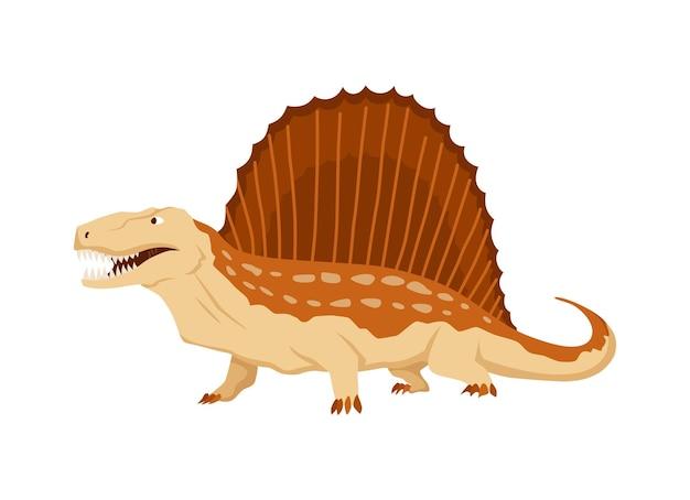 디메트로돈 공룡 플랫 아이콘입니다. 흰색 바탕에 색된 고립 된 선사 시대 파충류 괴물입니다. 벡터 만화 디노 동물입니다.