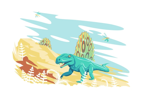 自然のベクトル図のディメトロドン恐竜先史時代の絶滅した巨大な爬虫類動物フラットスタイルの野生動物とジュラ紀の期間の概念が分離されました