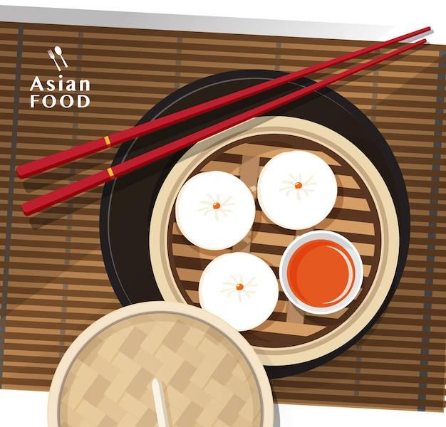Димсам, китайские пельмени и булочка, иллюстрация