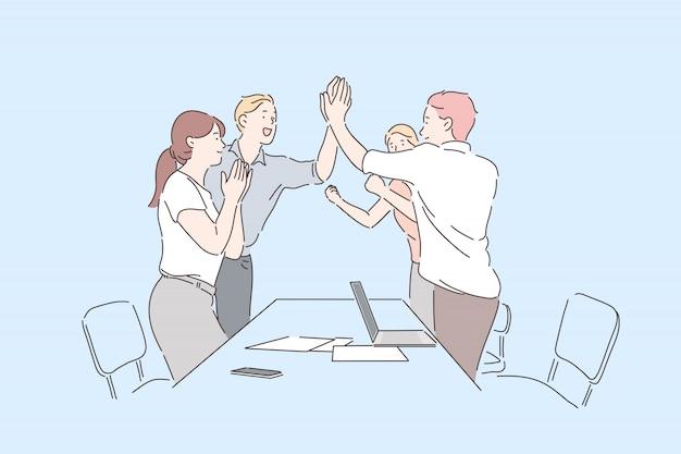 同僚は成功を祝います。陽気なオフィスワーカーが手をたたいて、専門的な業績に拍手ding、幸せな同僚の勝利のジェスチャー、チームワークと協力。シンプルフラット