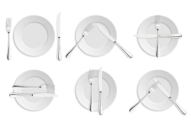 食事のエチケット、フォーク、ナイフの合図。