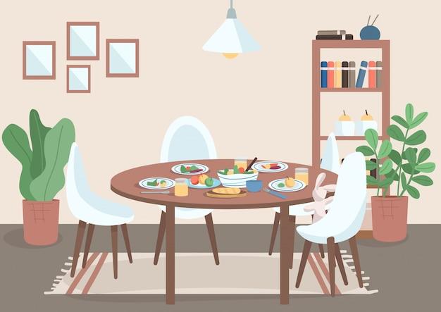ダイニングルームフラットカラーイラスト。テーブルと椅子と皿の上に食べ物。家族の食事スポット。鉢植えの近くの棚。背景に家具付きのリビングルーム2d漫画インテリア