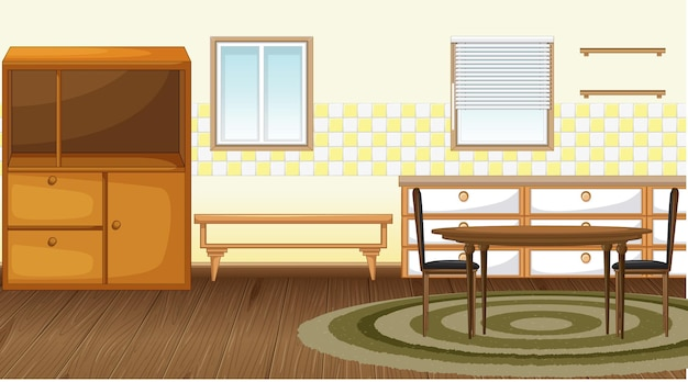 家具付きダイニングルームのインテリアデザイン
