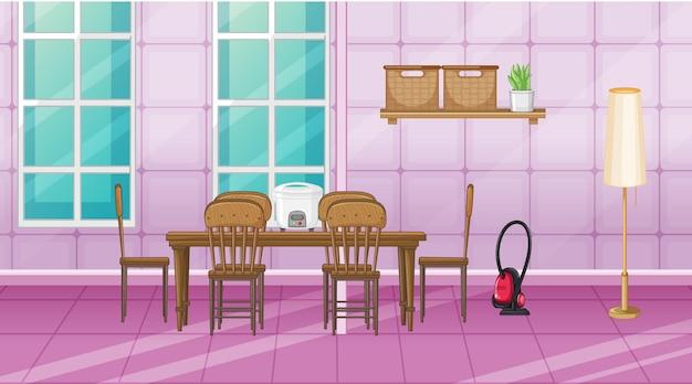 Дизайн интерьера столовой с мебелью