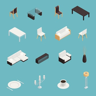 Dining room interior icons set