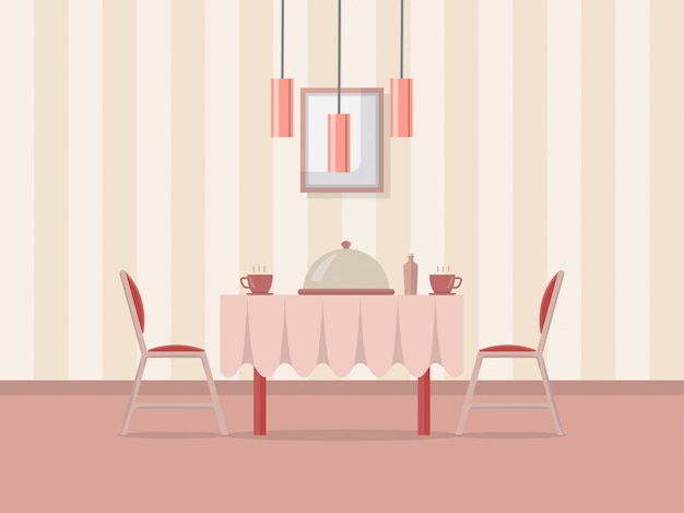 Dining room interior illustration