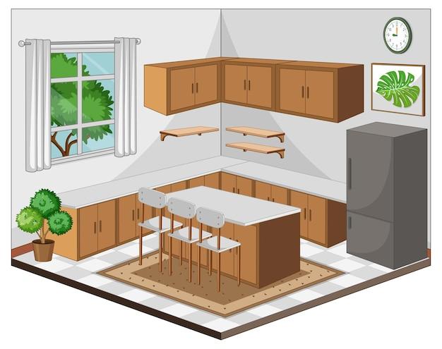 Интерьер столовой с мебелью в современном стиле Бесплатные векторы