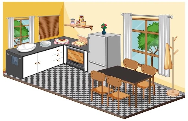 Dining room interior with furniture in modern style