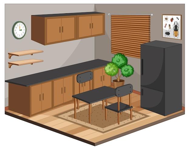 Interiore della sala da pranzo con mobili in stile moderno