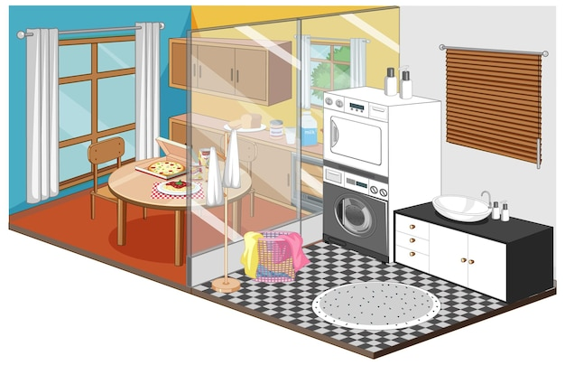 Dining room and laundry room in isometric style