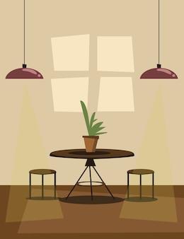 Dining room  scene vector illustration