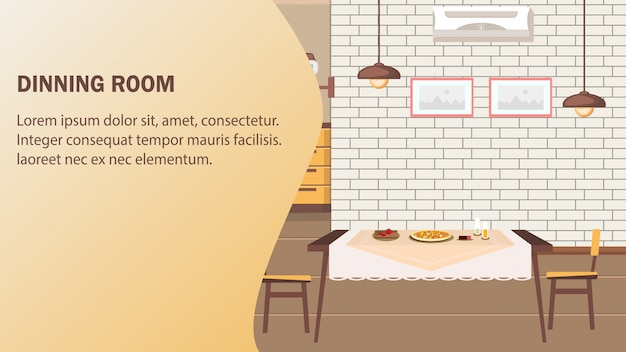 Dining room website vector banner template.